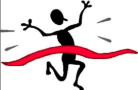 Stick Figure Crossing the Finish Line