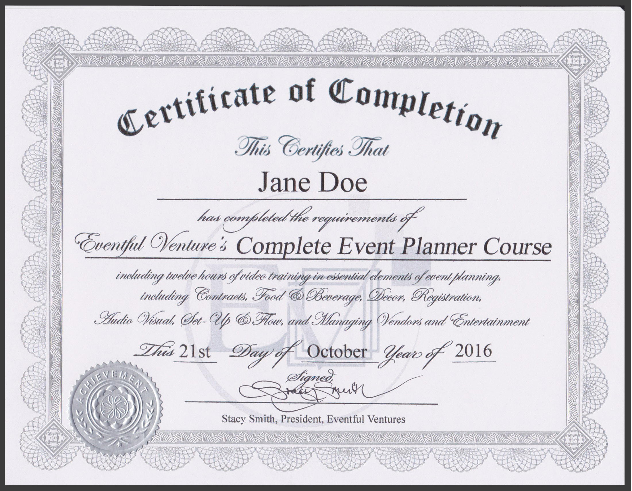 Image of an Event Planning Certificate